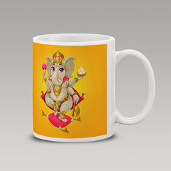 Yellow Abstract Ganesh Mug
