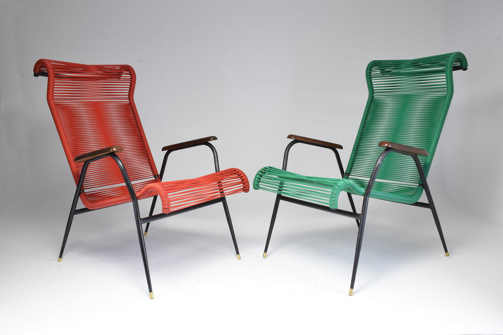 Shop 1950's Vintage French Red and Green Scoubidou Lounge Chairs, Set of Two - Spirit Gallery