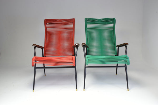 1950's Vintage French Red and Green Scoubidou Lounge Chairs, Set of Two - Spirit Gallery