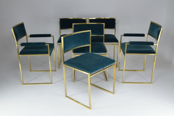 Shop 20th Century Chairs and Armchairs by Willy Rizzo, Set of 6, 1970's - Spirit Gallery