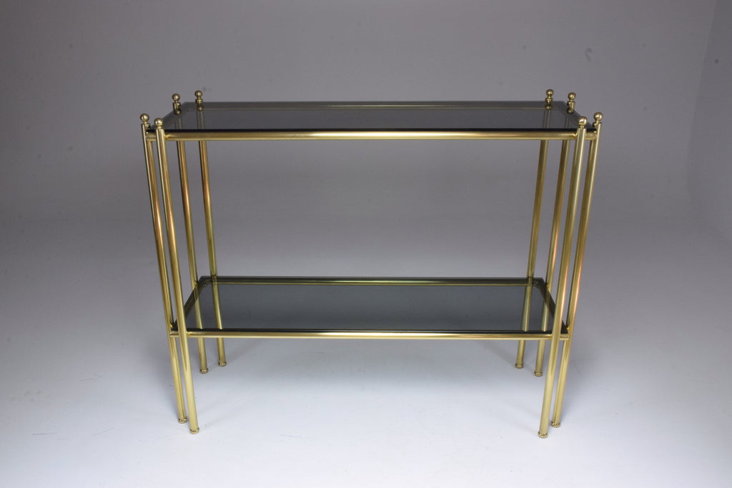 20th Century French Brass Glass Console Table, 1970s - Spirit Gallery