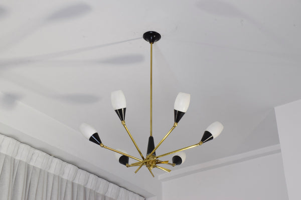 20th Century Italian 6-Arm Chandelier by Stilnovo, 1950's - Spirit Gallery