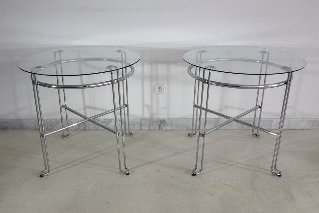 Shop French Vintage Chrome Steel Side Tables, France, 1970's - Spirit Gallery