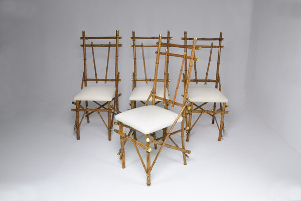 1960's Bamboo Brass Dining Chairs, Set of Four - Spirit Gallery