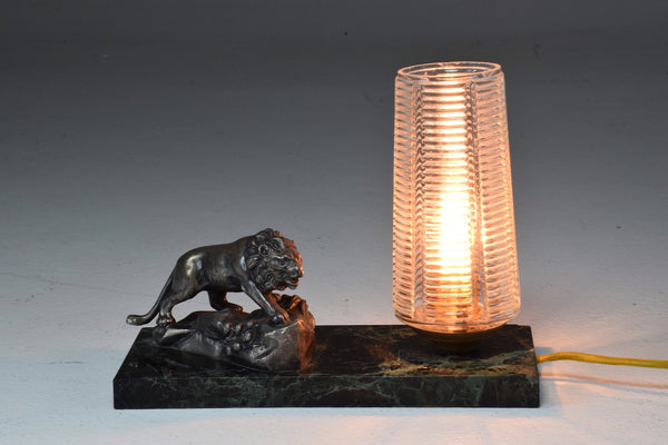 French Vintage Art Deco Lion Marble Table Lamp, 1930's - Spirit Gallery