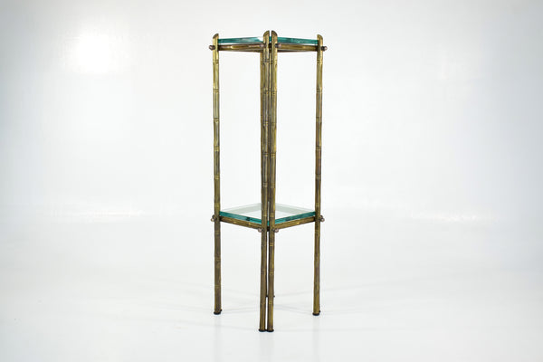 Shop French Polished Brass and Glass Pedestal or Side Table, 1970's - Spirit Gallery
