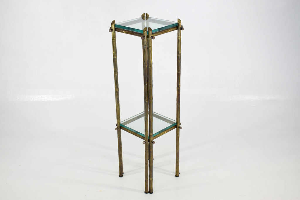 French Polished Brass and Glass Pedestal or Side Table, 1970's