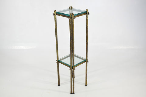 French Polished Brass and Glass Pedestal or Side Table, 1970's - Spirit Gallery