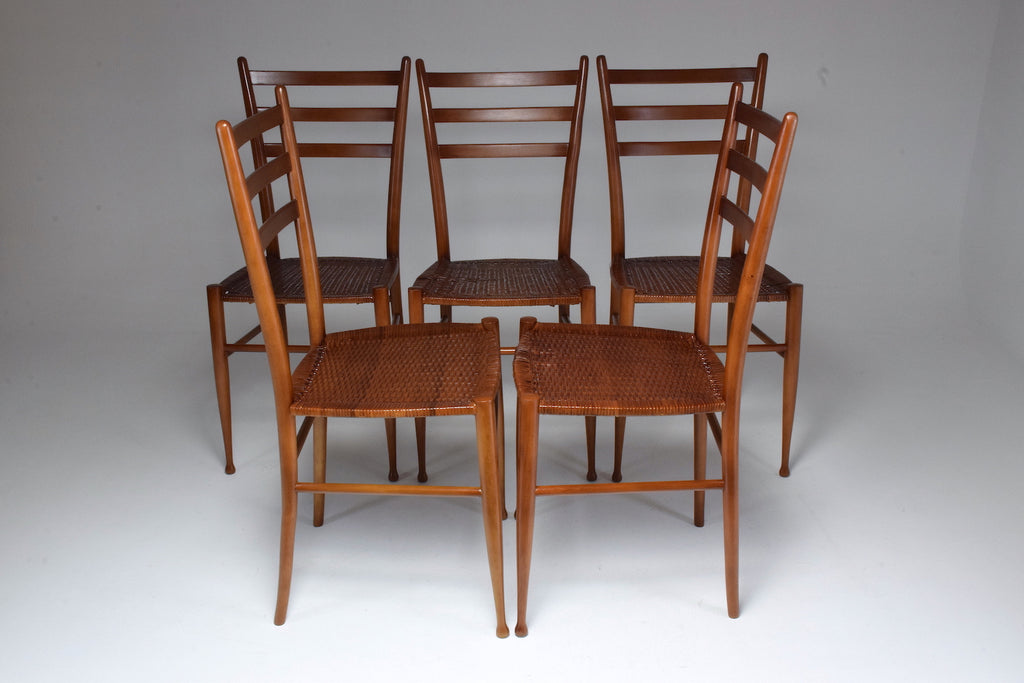 Shop French Vintage Cane Dining Chairs, Set of Five 1930's - Spirit Gallery