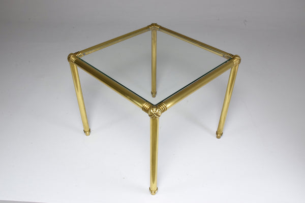 French Vintage Brass Glass Top Side Table, 1970's - Spirit Gallery