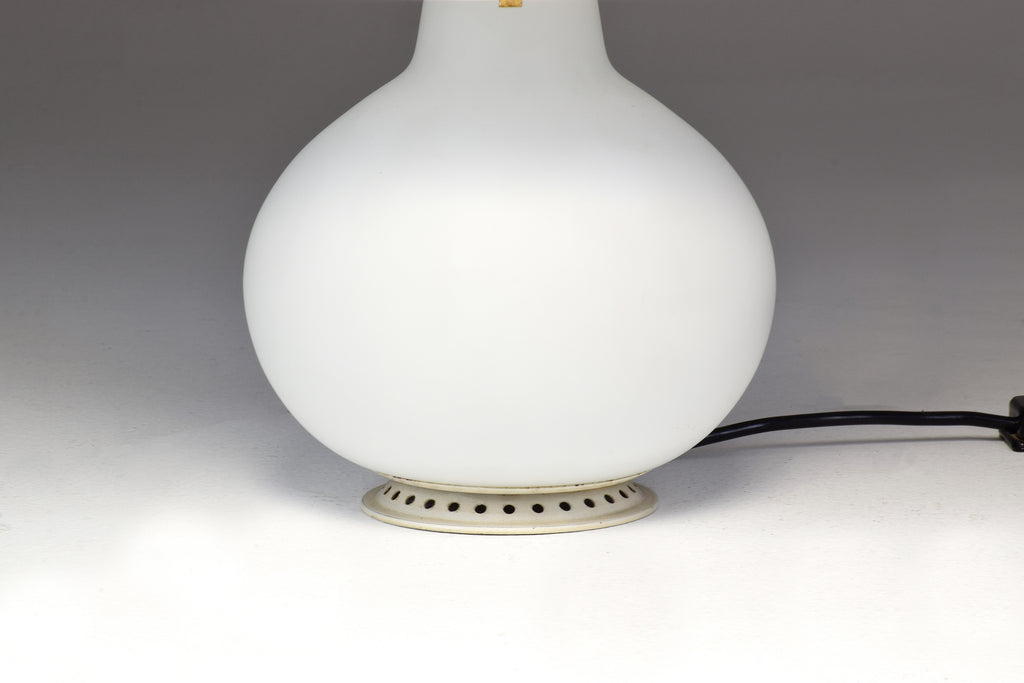 1953 First Edition Max Ingrand White Glass Double Light Table Lamp - Spirit Gallery