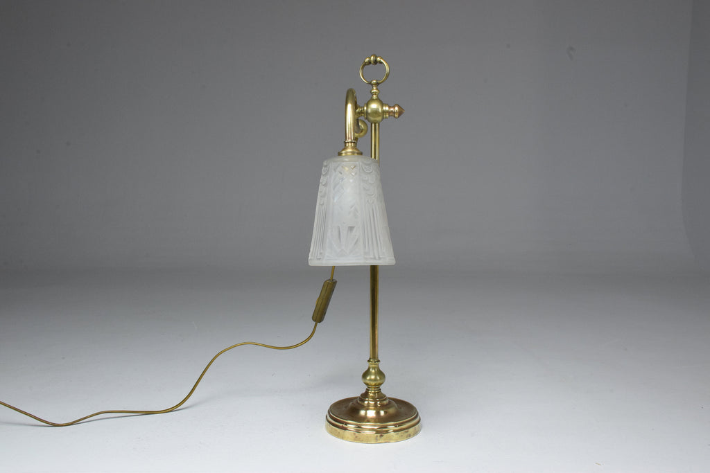 French Brass Table Lamp by Frères Muller, 1930's - Spirit Gallery