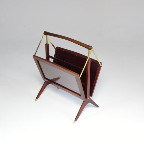 Shop 1950's Magazine Holder Ico Parisi Style in Wood and Brass - Spirit Gallery