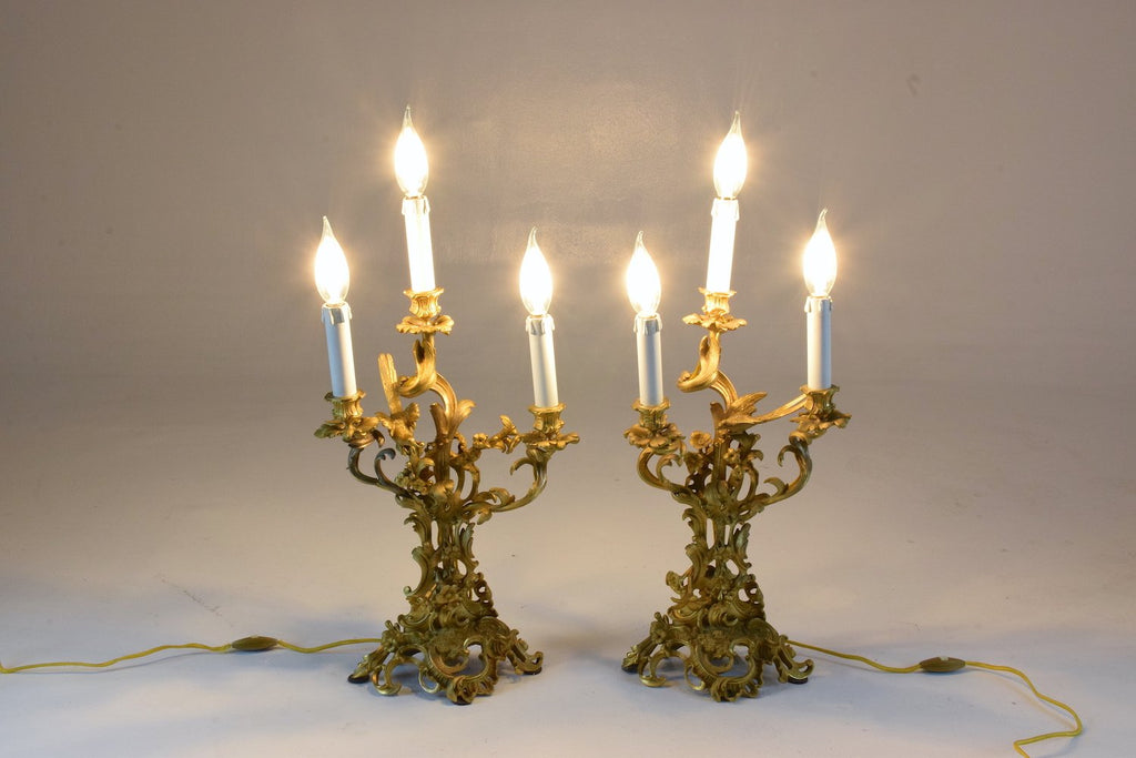 Shop Antique Pair of French Ormolu Electrified Candelabras - Spirit Gallery