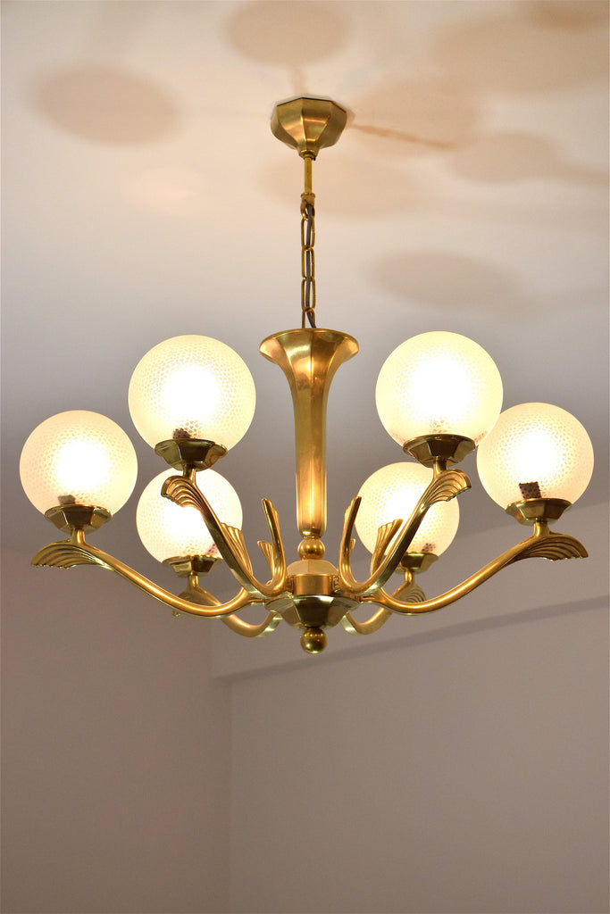 Shop Art Deco Brass Chandelier, France, 1930's - Spirit Gallery