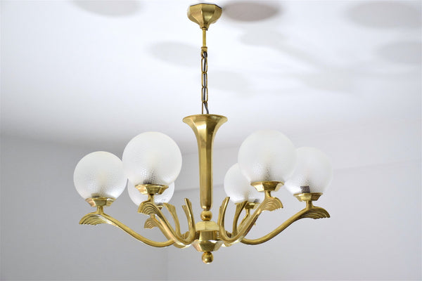 Art Deco Brass Chandelier, France, 1930's - Spirit Gallery