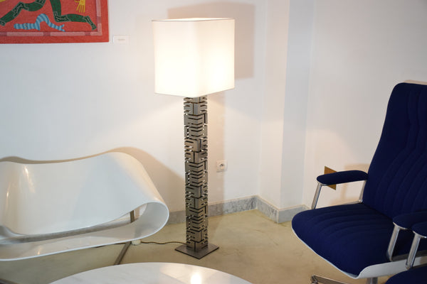 Shop Building Metal Floor Lamp by Curtis Jere, USA, 1970's - Spirit Gallery