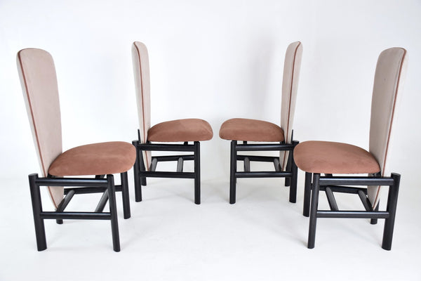 Dutch High Back Mid-Century Oak Dining Chairs, Set of 4 - Spirit Gallery
