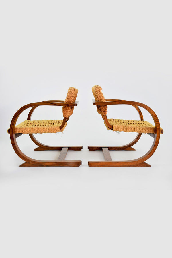 Dutch Oak Art Deco Armchairs by Bas Van Pelt, 1930's - Spirit Gallery