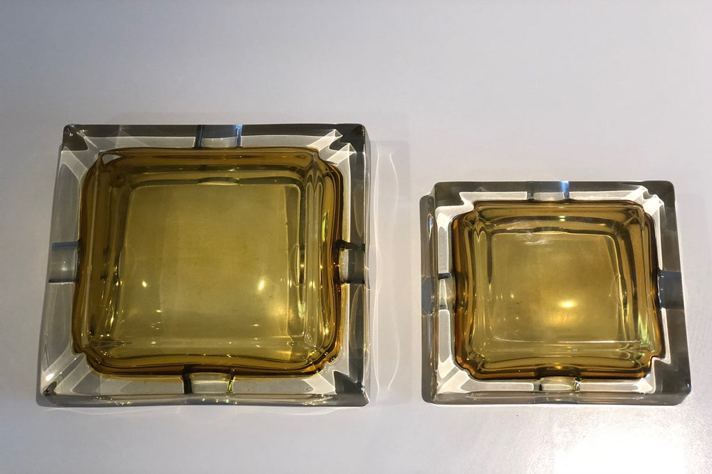 French 20th Century Vintage Glass Ashtrays, Set of Two, 1950s - Spirit Gallery