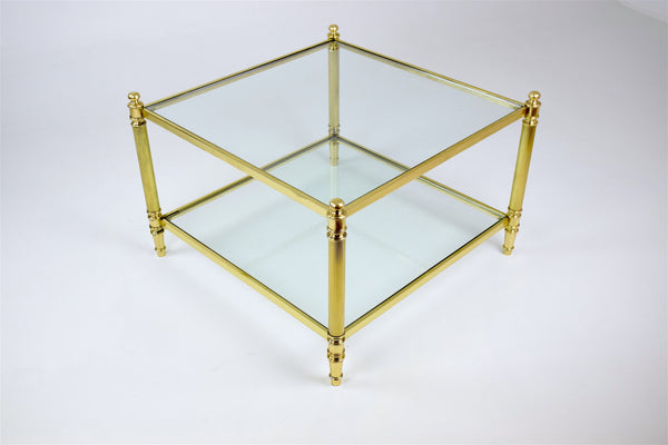 Shop French Brass Two Tier Coffee Table, 1970's - Spirit Gallery