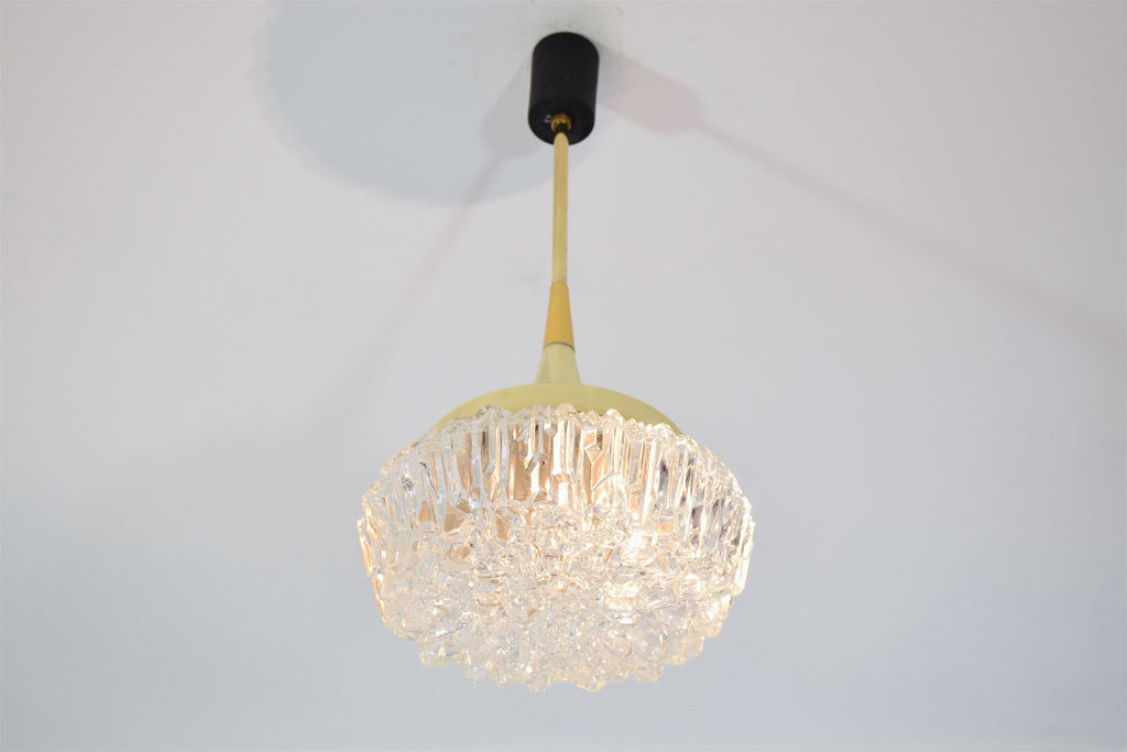Shop French Midcentury Brass Glass Pendant Attributed to Arlus, 1950s - Spirit Gallery