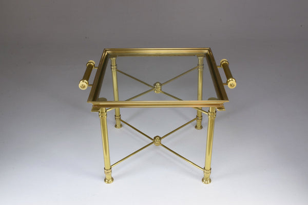 French Vintage Brass Side Table and Platter by Maison Bagues, 1980's - Spirit Gallery
