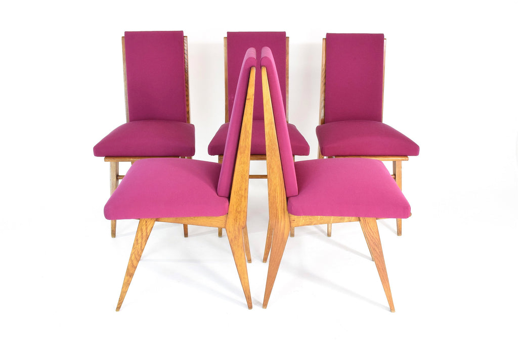 French Vintage Pink Oak Dining Chairs, Set of Five, 1940s - Spirit Gallery