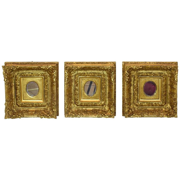 Italian Antique Three Square Gilded Rococo Mirrors - Spirit Gallery