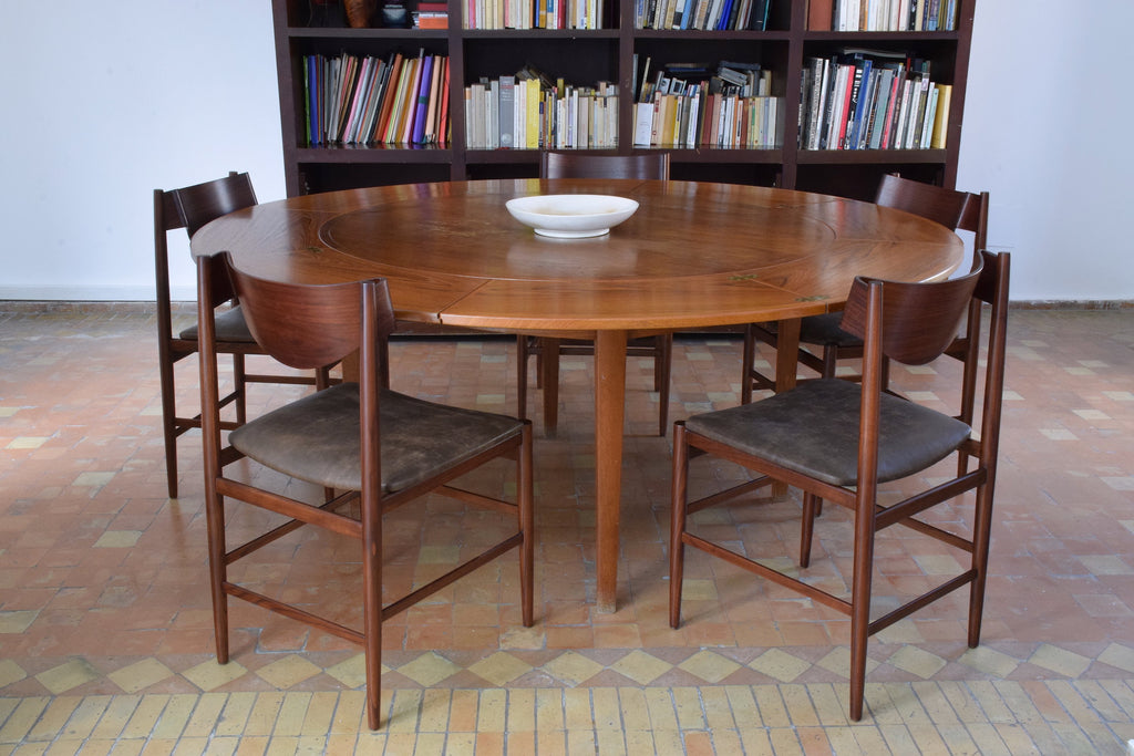 Italian Curved Dining Chairs by Gianfranco Frattini, Set of 5, 1960s - Spirit Gallery