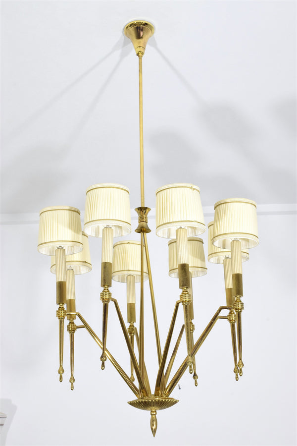 Italian Mid-Century Chandelier With Gilded Brass Structure - Spirit Gallery