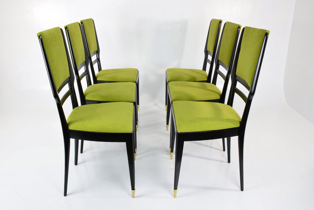 Italian Mid-Century Dining Chairs, Set of Six, 1950's - Spirit Gallery