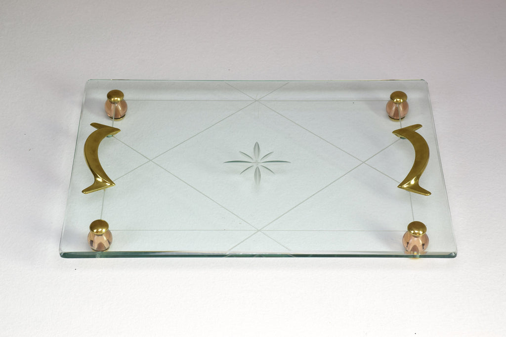 Shop Italian Mid-Century Glass Platter Attributed to Fontana Arte, 1950's - Spirit Gallery