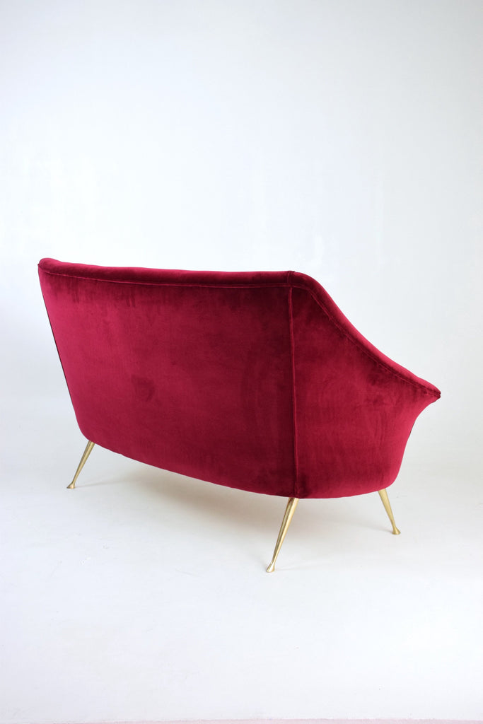 Italian Mid-Century Two-Seater Red Sofa, 1950s - Spirit Gallery