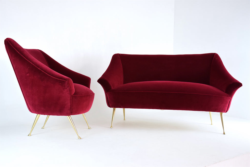 Italian Mid-Century Velvet and Brass Armchair, 1950s - Spirit Gallery