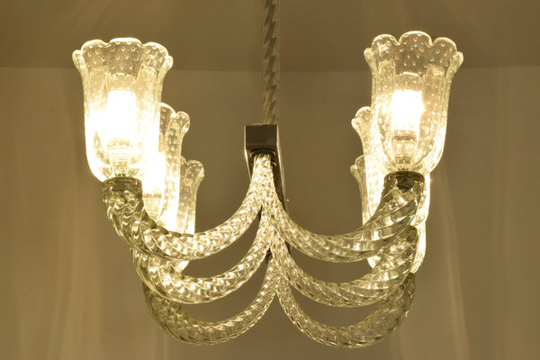 Italian Murano Vintage Chandelier Attributed to Barovier & Toso, 1940's - Spirit Gallery