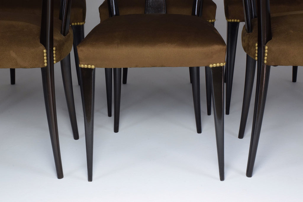Italian Vintage Dining Chairs In the Style of Guglielmo Ulrich, Set of 6, 1940's - Spirit Gallery