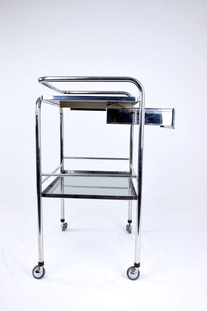 Shop Medical Cart with Glass Shelves and Rollers, 1960's - Spirit Gallery
