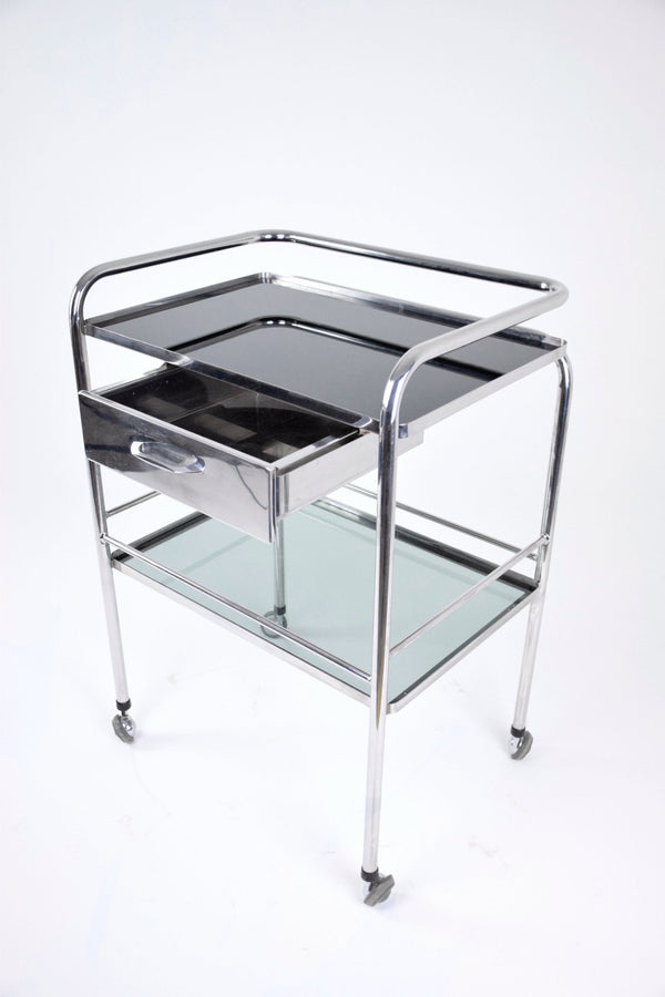 Medical Cart with Glass Shelves and Rollers, 1960's - Spirit Gallery