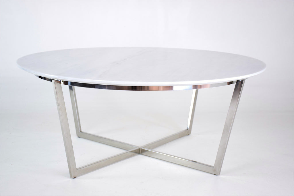 Mid-Century Steel and Marble Coffee Table, France, 1970's - Spirit Gallery
