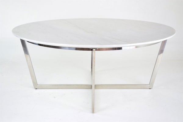 Shop Mid-Century Steel and Marble Coffee Table, France, 1970's - Spirit Gallery