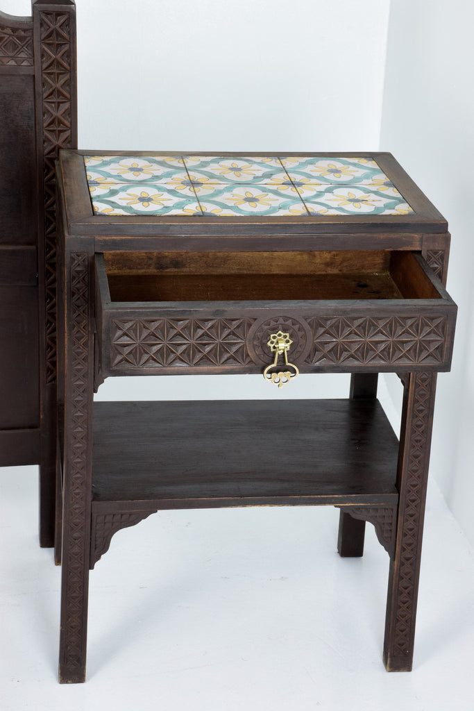 Moorish Vintage Sculpted Bed and Nightstands, 1930's - Spirit Gallery