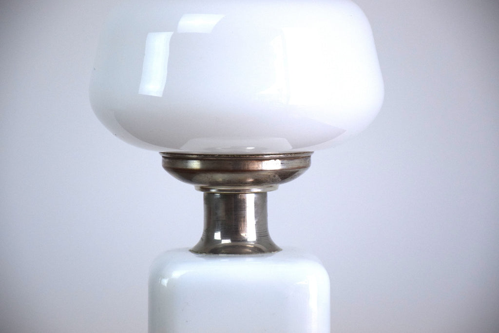 Opaque White Glass Table Lamp, 1970'S - Spirit Gallery