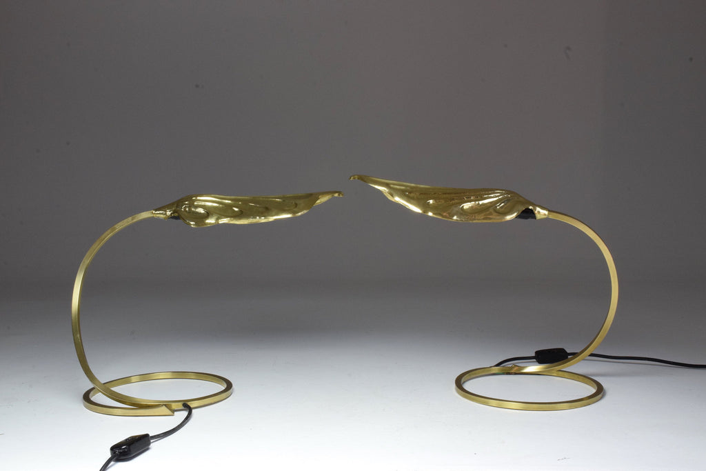 Shop Pair of 20th Century Italian Rhubarb Leaf Table Lamps by Tommaso Barbi, 1970's - Spirit Gallery