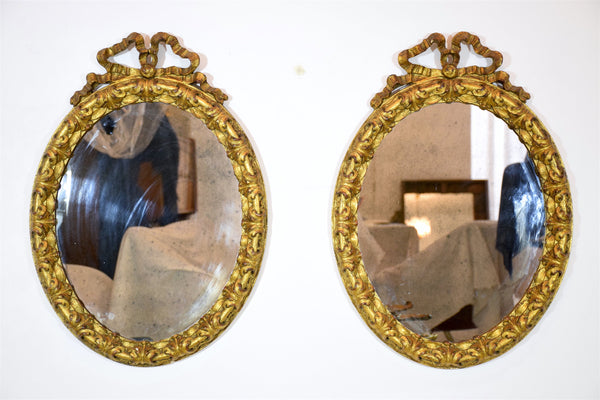 Pair of Antique Italian Giltwood Vanity Mirrors - Spirit Gallery
