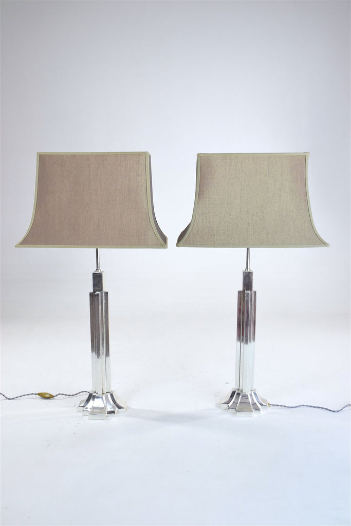 Shop Pair of Art Deco Lamps in Silver Brass, 1930's - Spirit Gallery
