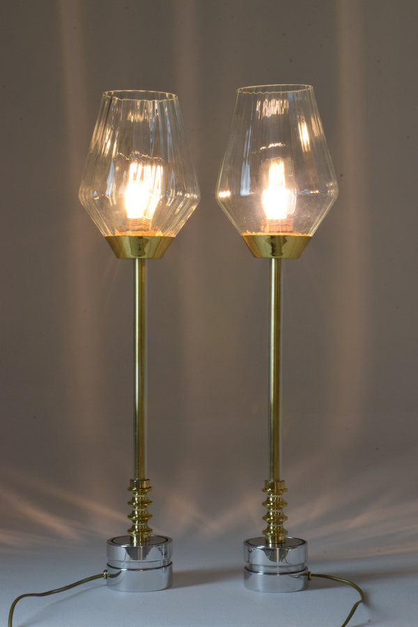 Pair of Brass Table Lamps, Confinement Collection by JAS - Spirit Gallery