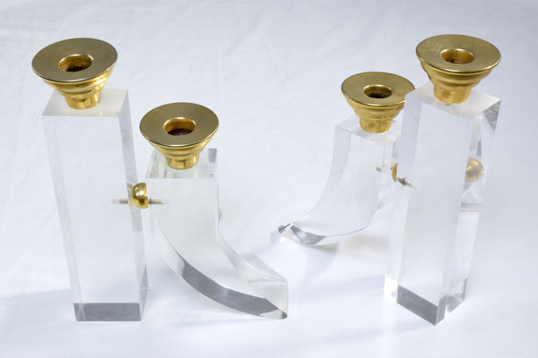 Pair of French Plexiglass Candleholders, 1970s - Spirit Gallery
