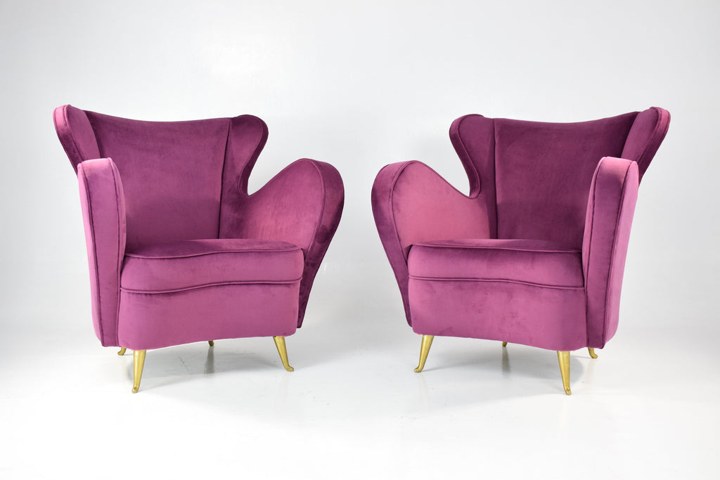 Shop Pair of Italian Armchairs by ISA Bergamo, 1950s - Spirit Gallery