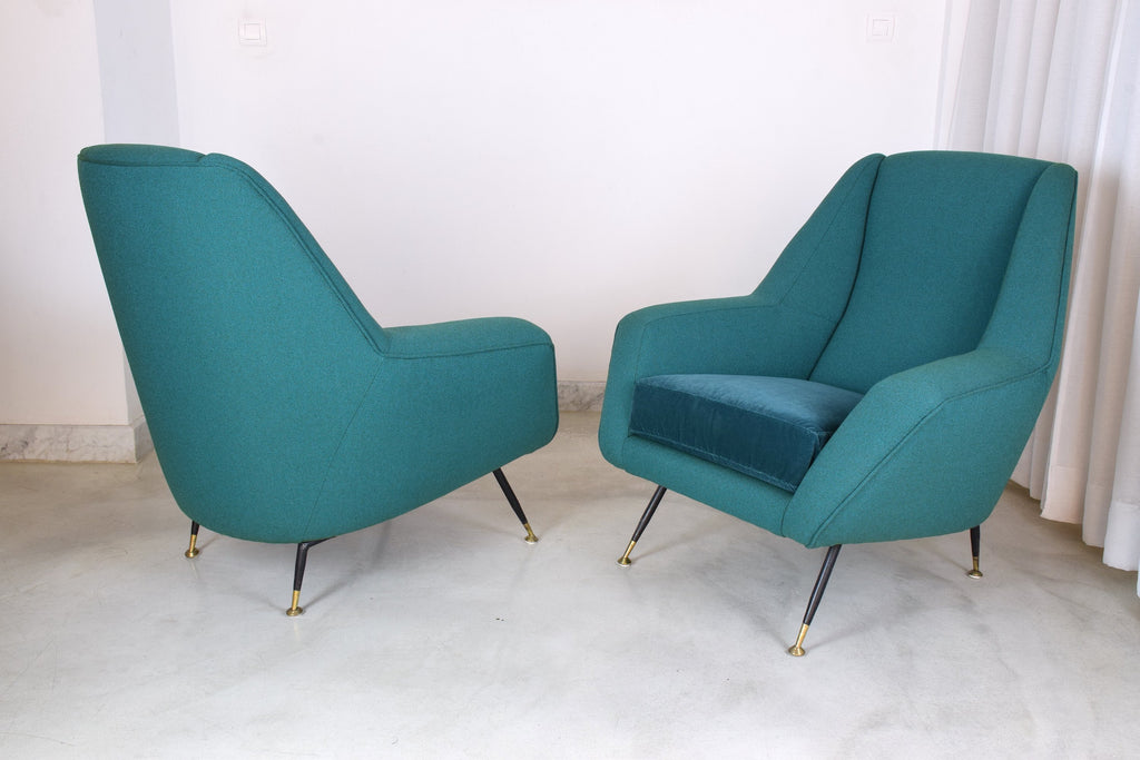 Shop Pair of Italian Mid-Century Armchairs Attributed to Gigi Radice, 1950's - Spirit Gallery